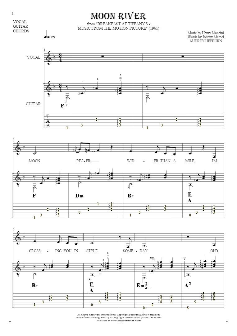Moon river notes tablature chords and lyrics for vocal with moon river notes tablature chords and lyrics for vocal with guitar accompaniment hexwebz Choice Image