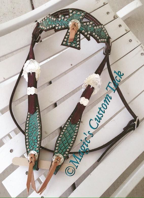 Turquoise Cross and Blood Knot Headstall Magic's custom tack
