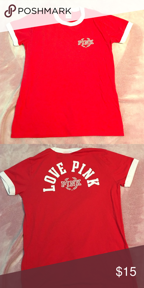 Pink ringer tee red PINK Victoria's Secret Tops Tees - Short Sleeve