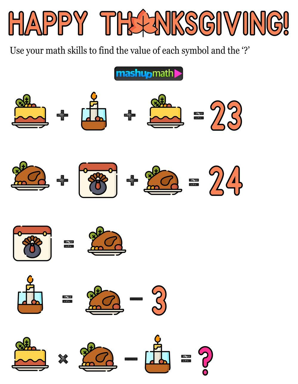 12 Thanksgiving Math Activities For Grades 1 8 Mashup Math Thanksgiving Math Thanksgiving Math Activities Math Activities [ 1287 x 1000 Pixel ]
