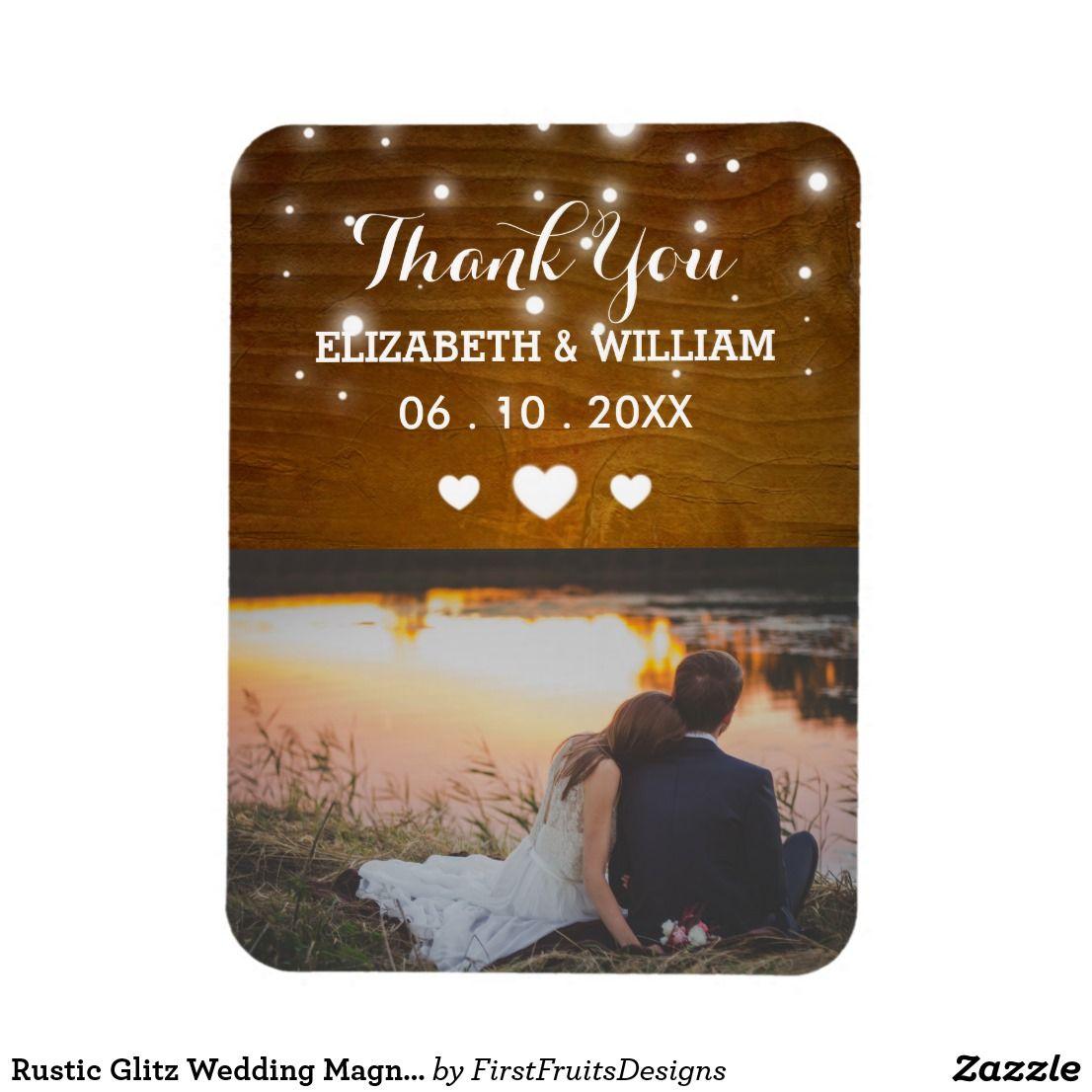 Rustic Glitz Wedding Magnet Favor Photo Thank You Glitz Wedding