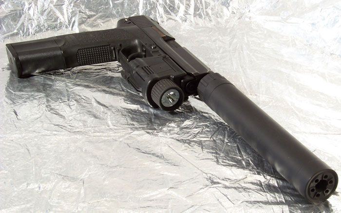 H&K USP Tactical extended mag, suppressor and light