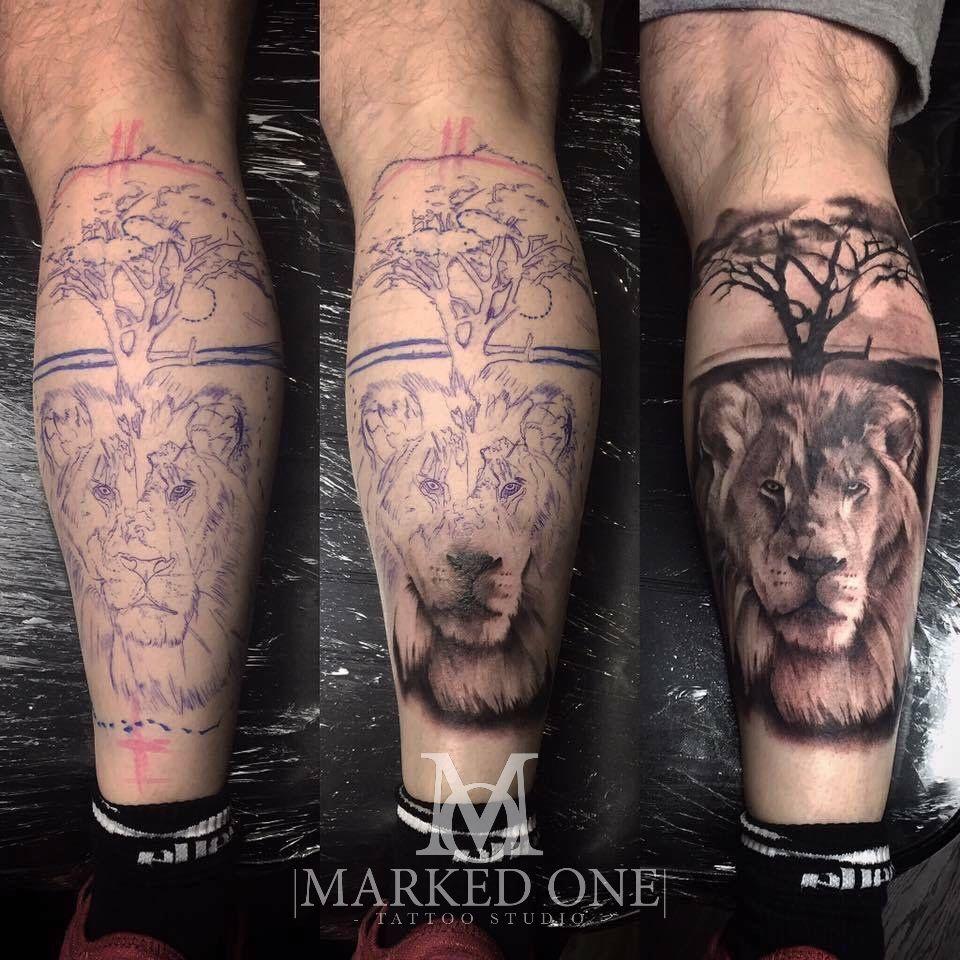 d66fb78ea Lion safari calf tattoo. Black and grey tattoo by Adam Thomas ...