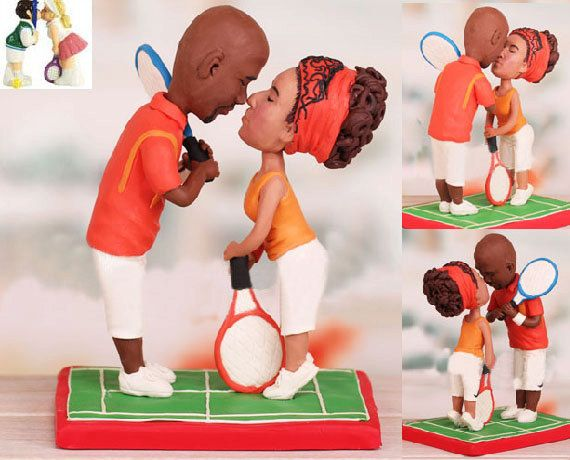 Tennis theme topper  Personalised wedding by UniqueCakeToppers #tennisplayer #weddingcaketopper #caketooper #kiss