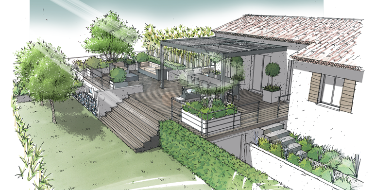 jardin sur terrasse semi enterr e lamanon 13 croquis rendus plan jardin jardin couvert. Black Bedroom Furniture Sets. Home Design Ideas