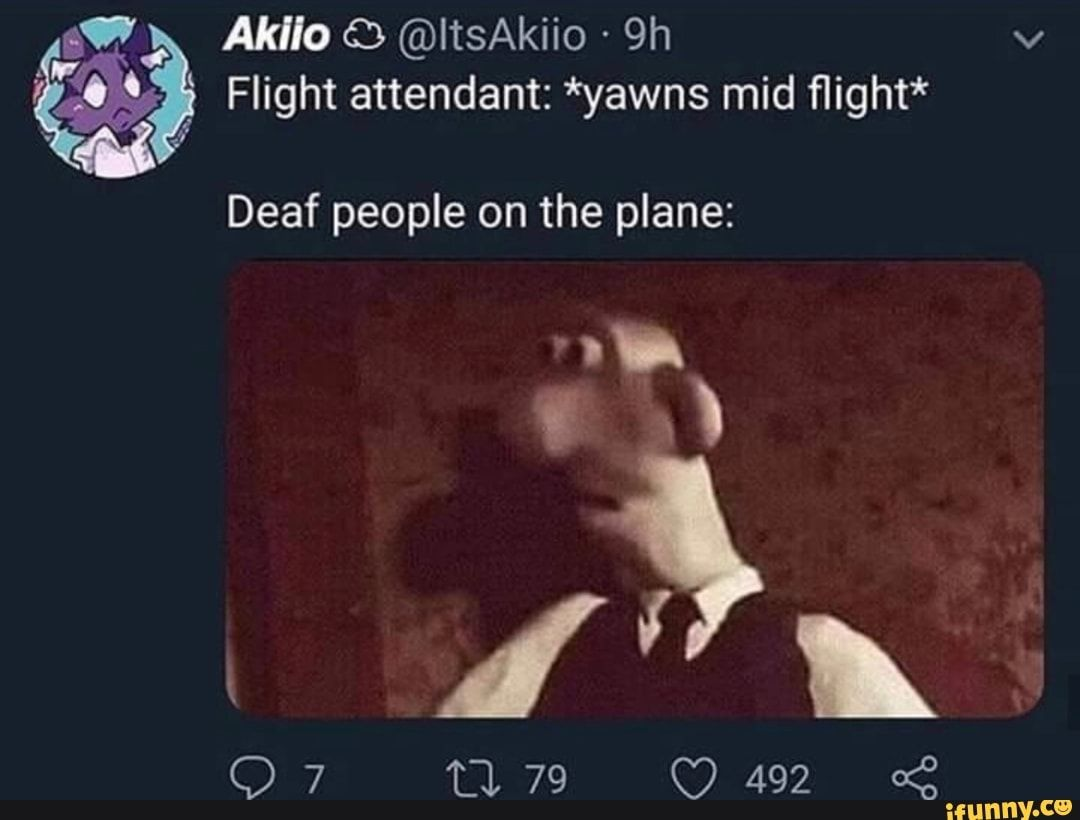 Flight Attendant Yawns Mid Flight Deaf People On The Plane Ifunny Really Funny Stupid Memes Funny Dude