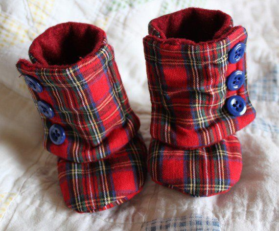 Handmade Red Plaid 03 Month Booties by DKMagArts on Etsy