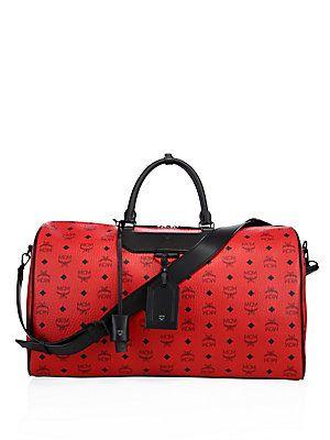 Mcm Weekender Canvas Leather Duffle Bag Ruby Red