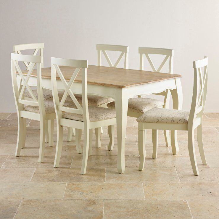 """Bella Brushed Oak And Painted 4Ft 7"""" Extending Dining Set With 6 Captivating Oak Dining Room Table And 6 Chairs Inspiration Design"""