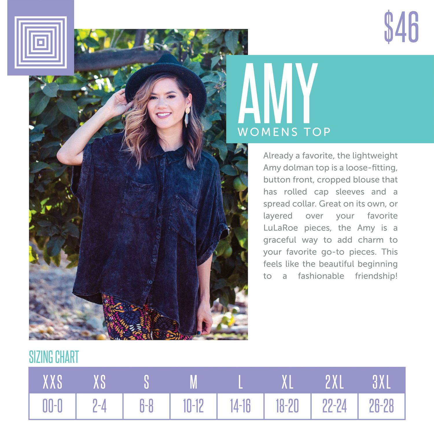 34a564aeea8d67 Women s LuLaRoe Amy Top Size Chart including 2018 updated pricing.  lularoe   lularoeretailer