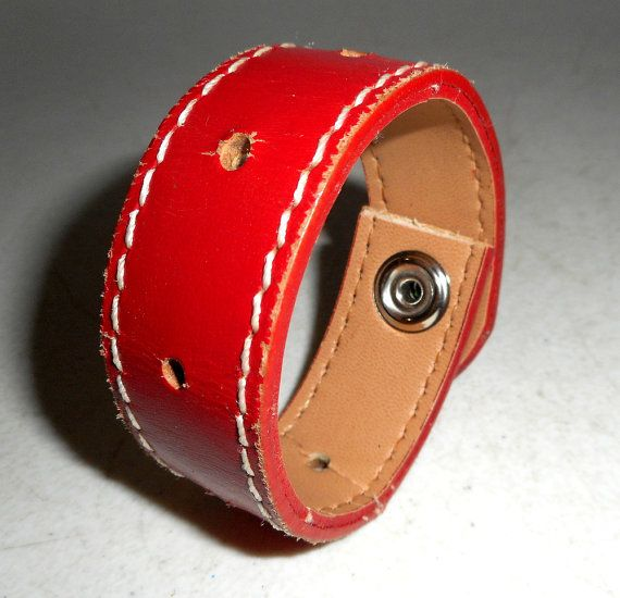 Red Leather Cuff Bracelet Upcycled Western by honeyblossomstudio