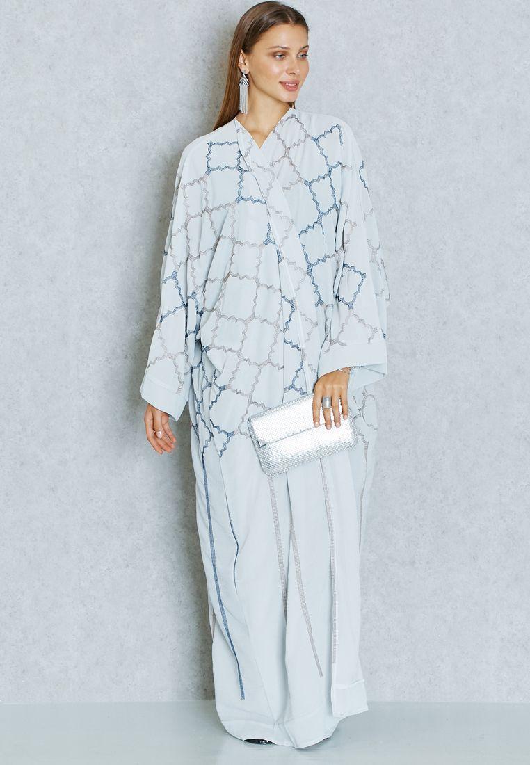 b451179c81c0 Shop grey Embroidered Bisht from Hayas Closet grey at Namshi.com - Women in  Saudi