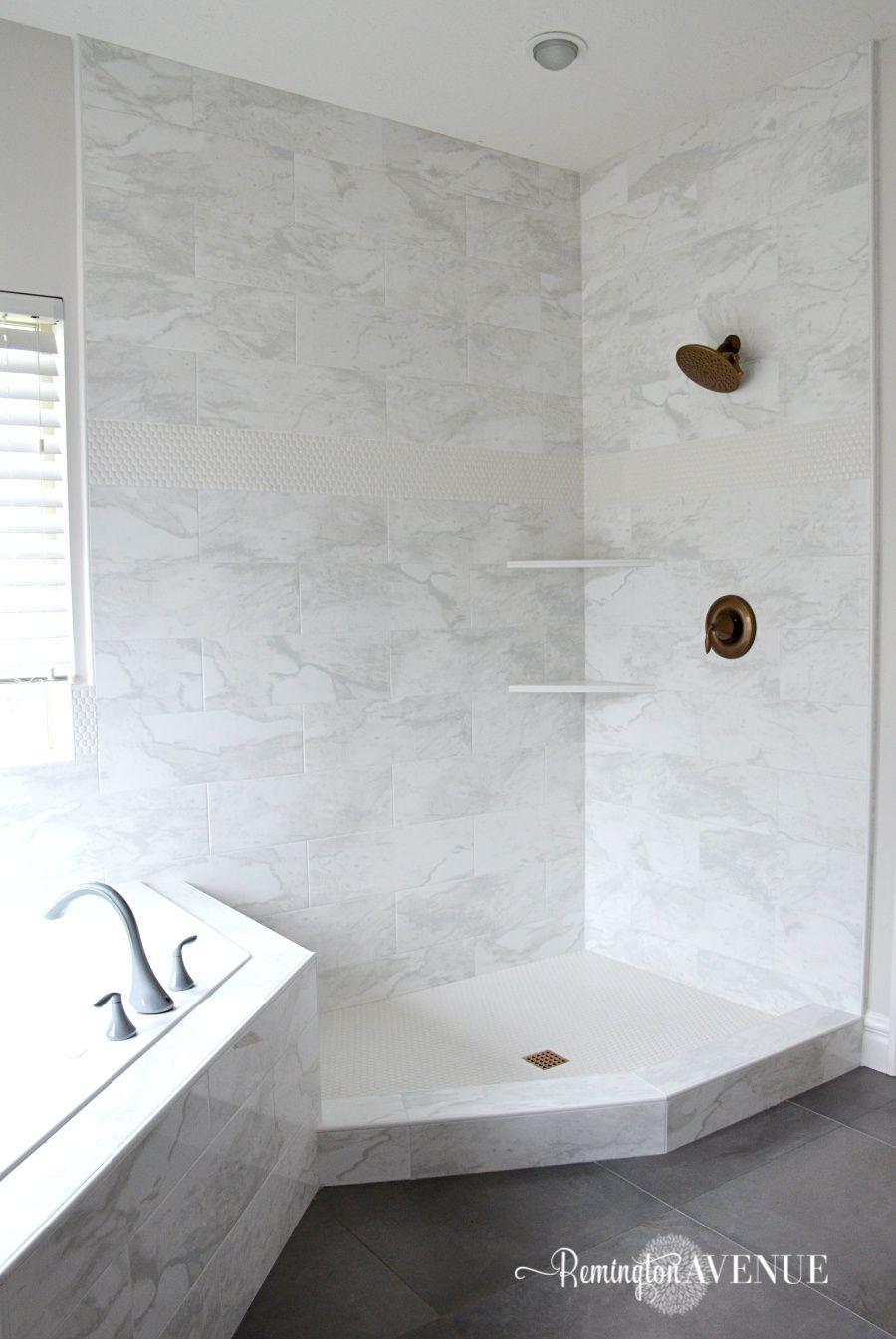 ORC-Week 4: Master Bathroom tile {Designer Style on a budget} - Marble tile  Remington Avenue