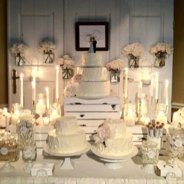 Candy Bar For Wedding Ideas: All White And Gold Candy Bar By: Double Take Event Styling
