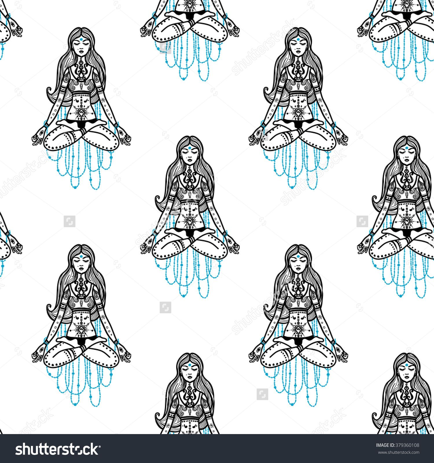 Traditional Indian Symbols: Woman. Hand Drawn Sketch Paisley And Mehendi Graphic Black Line Decoration Items On White Background. Seamless Pattern On White Backdrop Ilustración vectorial en stock 379360108 : Shutterstock