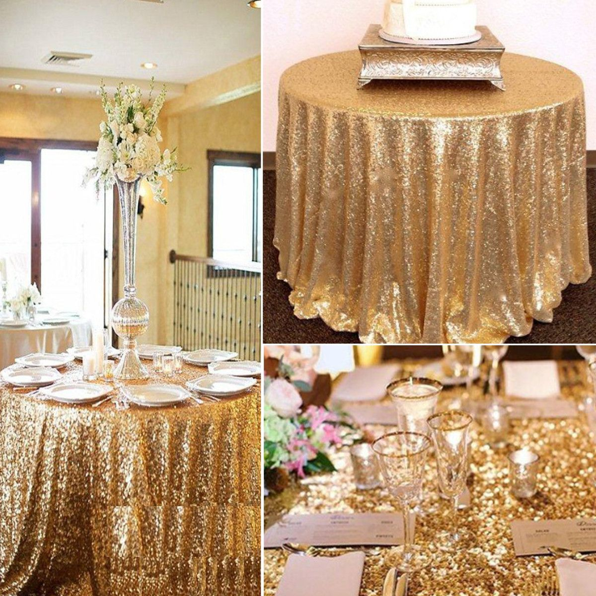 Home Wedding Cake Table Rose Gold Sequin Tablecloth Sequin