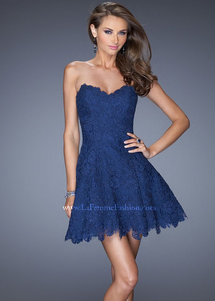Short Strapless Navy Dress