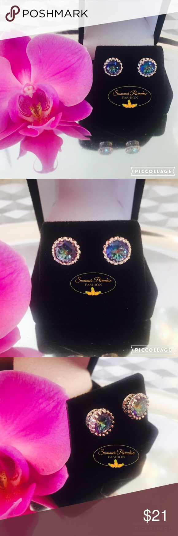 💠NWT 💕18k White Gold Mystic Topaz Earrings💕 💠BUY 2 get 1 FREE item $10 or under!💠.           8 mm rainbow mystic topaz stud earrings in crown 18k white gold setting. Even more brilliant than pics can show! Vibrant hues of blue, green & purple depending on sunlight💕.         💠Bundle to Save 15% $$$.                                           💠FREE GIFT with purchases over $10        TAGS: Mystic Topaz earrings, rainbow topaz, topaz stud earrings, stud earrings Summer Paradise Jewelry…