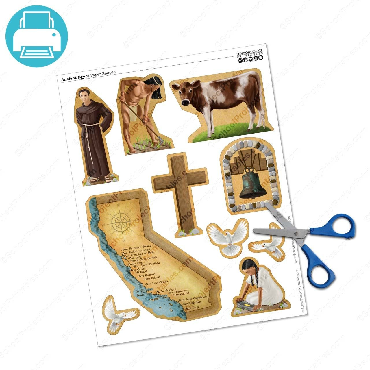 California Missions Project Clip Art Icon Symbols Set