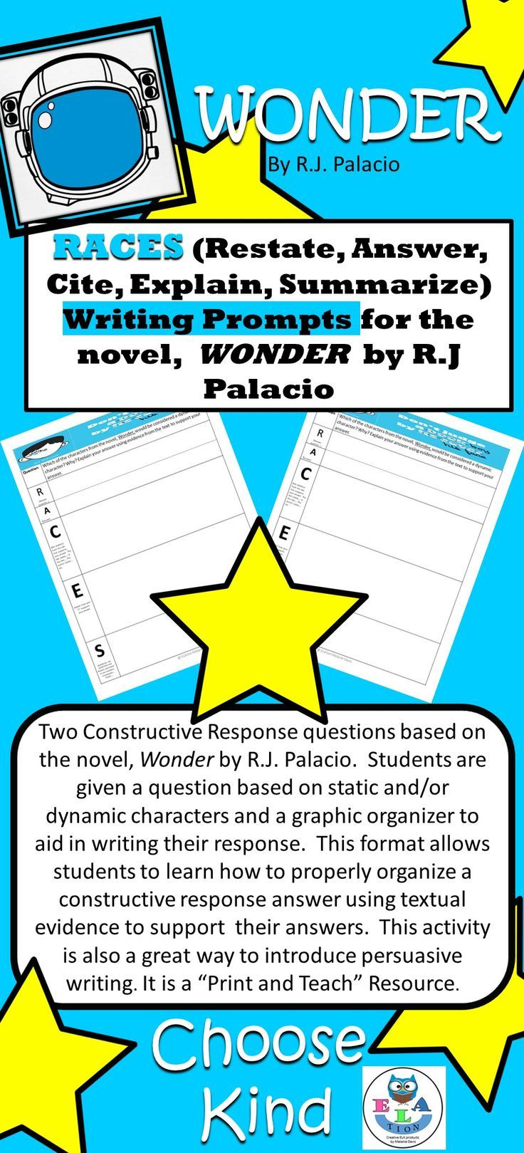 Constructive Response Questions based on R.J. Palacio's novel, Wonder.  Graphic Organizers help students to craft an effective written response  with textual ...