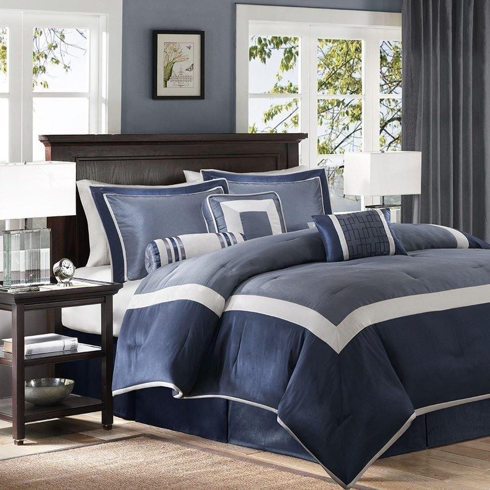 Luxury 7pc Navy Blue Silver Geometric Comforter Set And Decorative Pillows Madisonpark Comforter Sets Queen Comforter Sets King Comforter Sets