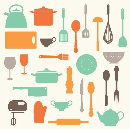 Kitchen baking utensils clip art clipart set personal for Equipement cuisine commercial usage