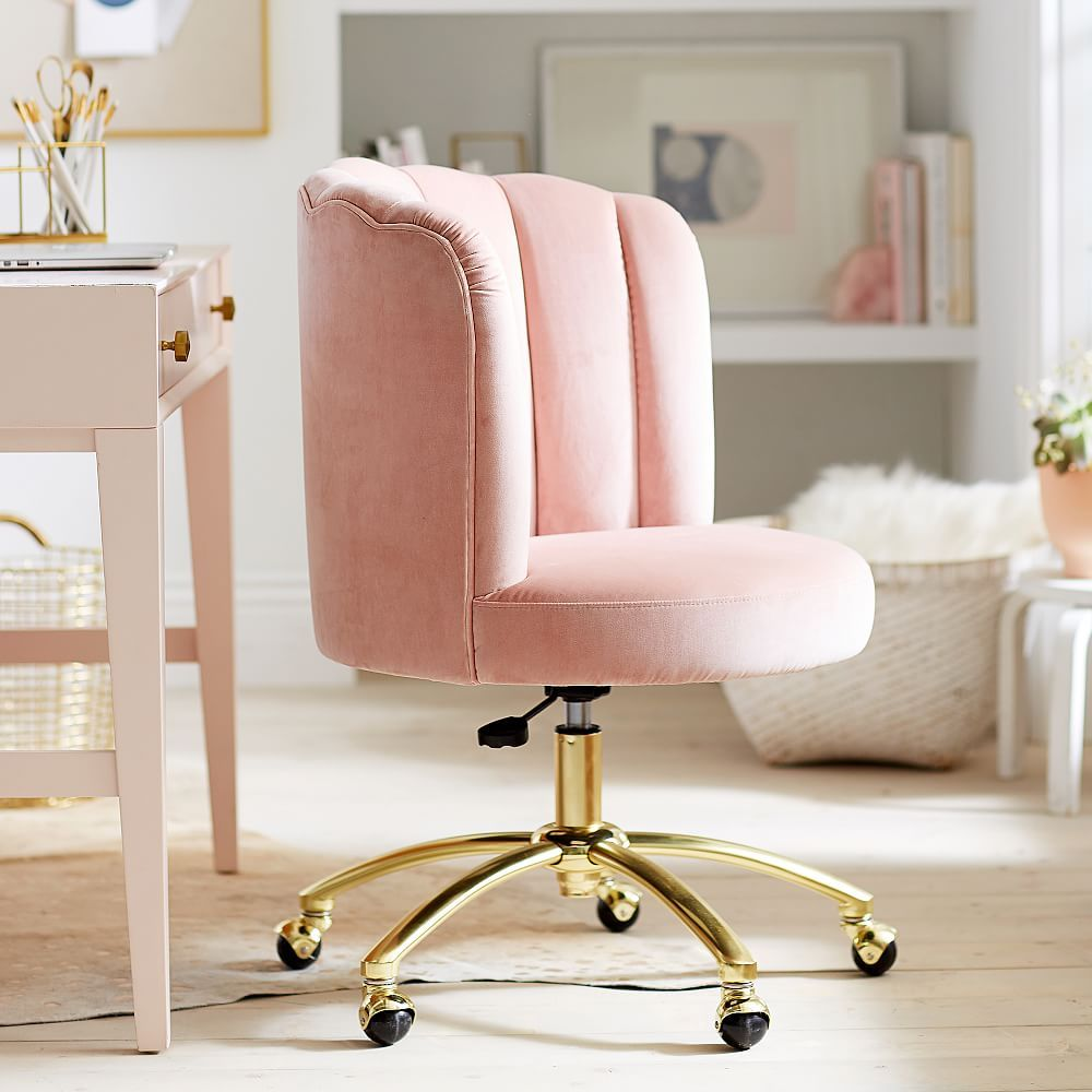 Luxe Velvet Dusty Rose Swivel Desk Chair Furniture Tufted Desk Chair Chair