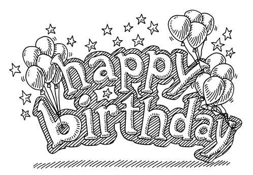 Hand Drawn Vector Drawing Of A Little Gift Box Hanging On Some Flying Geburtstag Malvorlagen Geburtstag Luftballons Geburtstagskarte