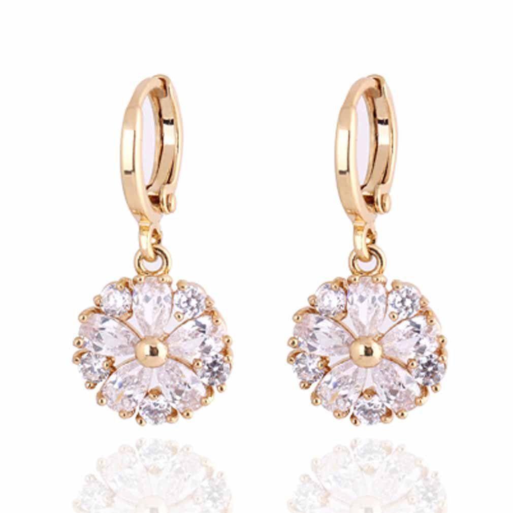 Fashion earrings Jewelry Cubic Zirconia Earrings 18K Gold Filled women earrings