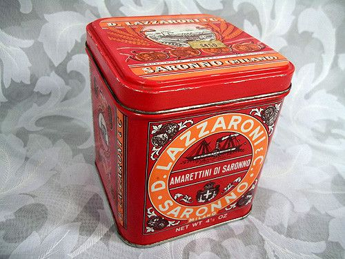 "$13.99 Vtg 4"" Tall D. Lazzaroni  C. Saronno Milano Biscotti Mini Tin Box Made in Italy"