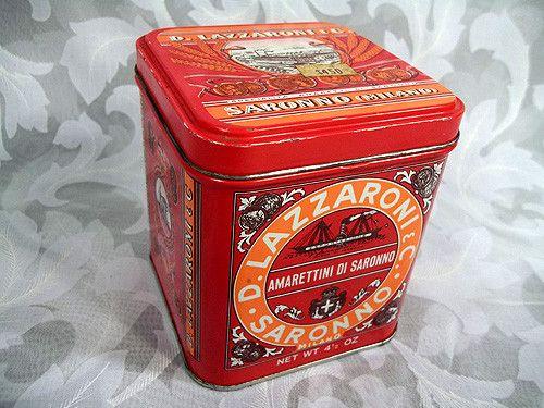 """Sold Vtg 4"""" Tall D. Lazzaroni  C. Saronno Milano Biscotti Mini Tin Box Made in Italy"""