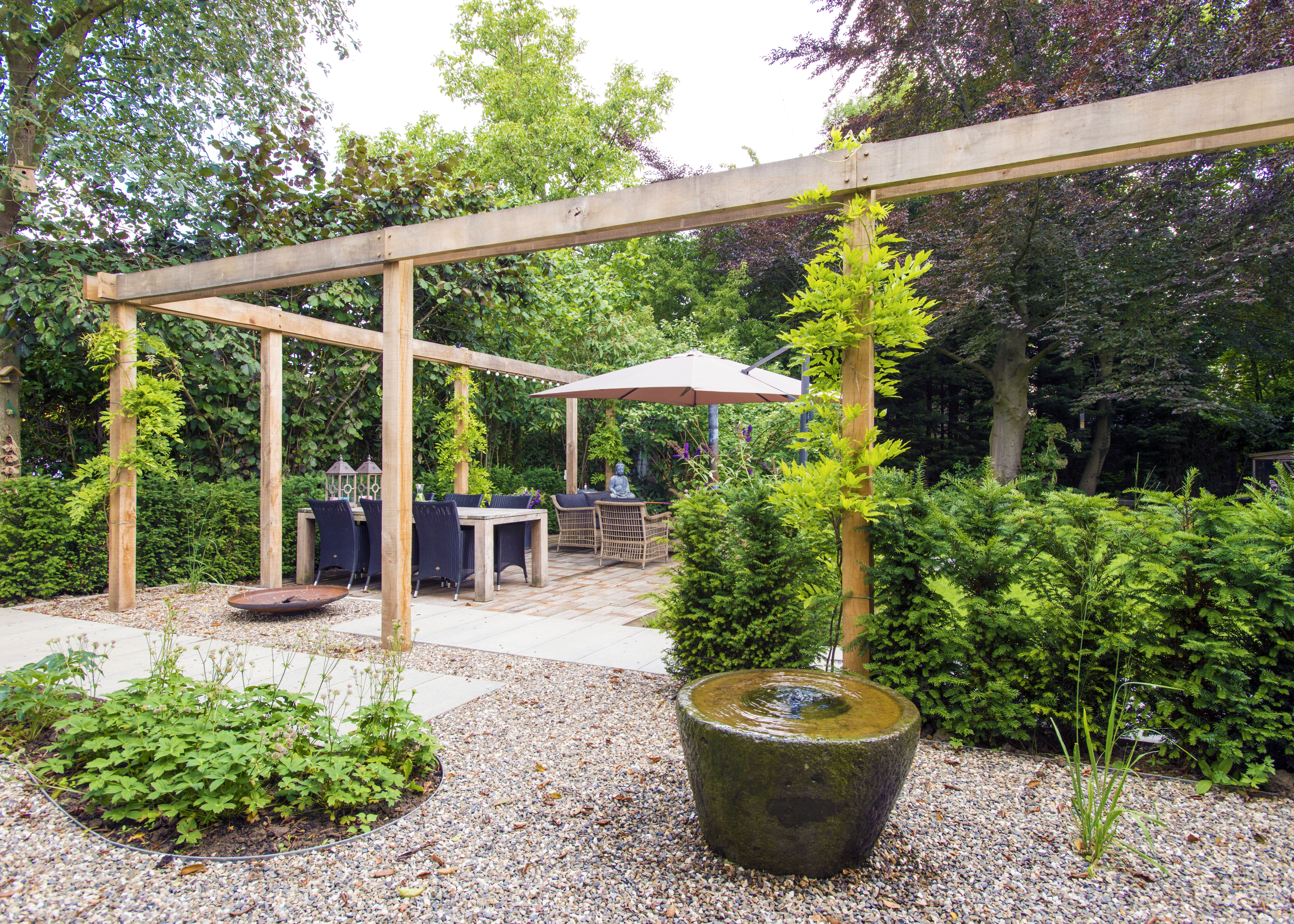 Pergola en waterornament tuin ydee pergolas and