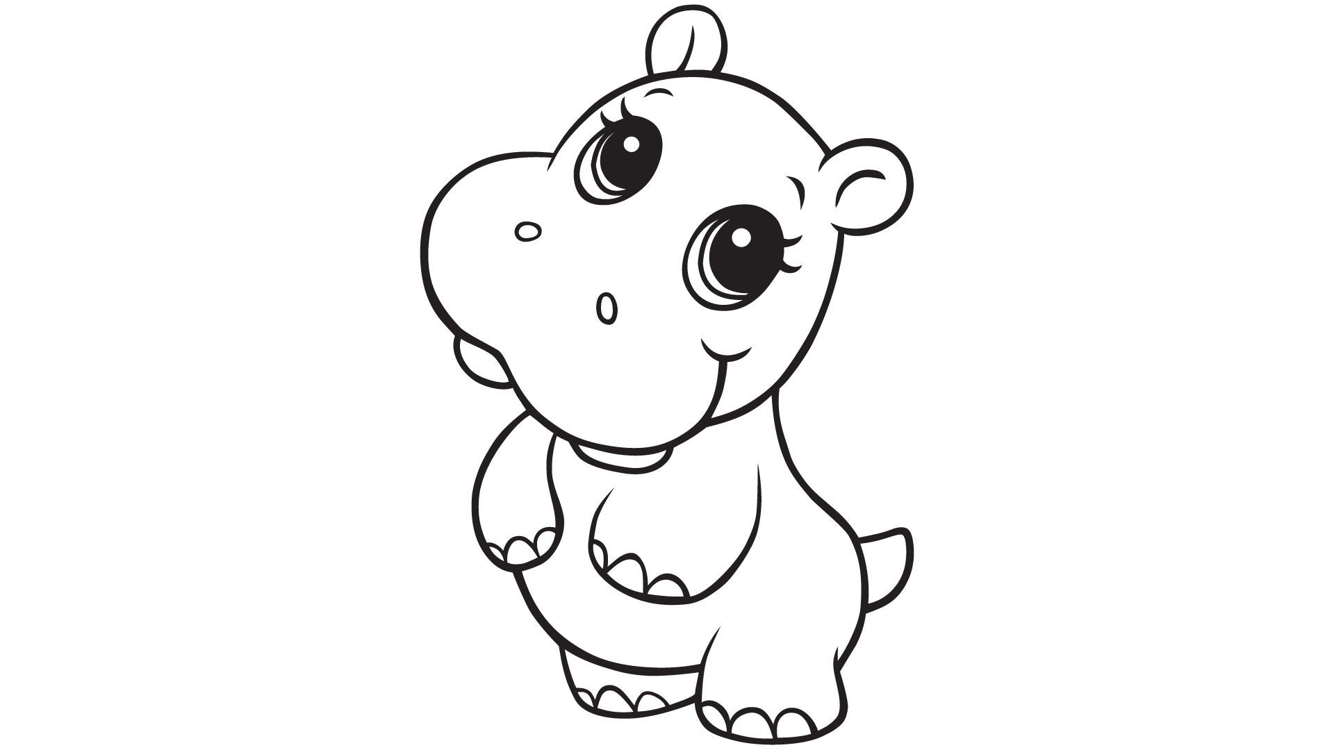 Baby Hippo Cute Coloring Pages Baby Animal Drawings Animal Coloring Books