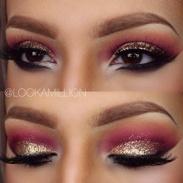 Gold Glitter & Pink Eye Makeup Look