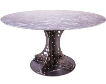 Riveted Industrial Dining Table   The Manhattan Column Table