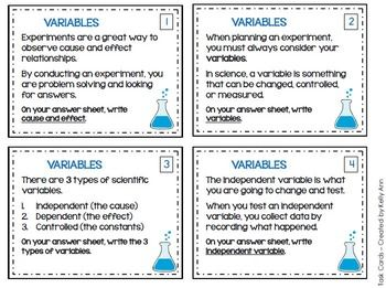variables task cards review cards scientific method and students. Black Bedroom Furniture Sets. Home Design Ideas