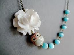 Necklace with aqua beads and a cute owl