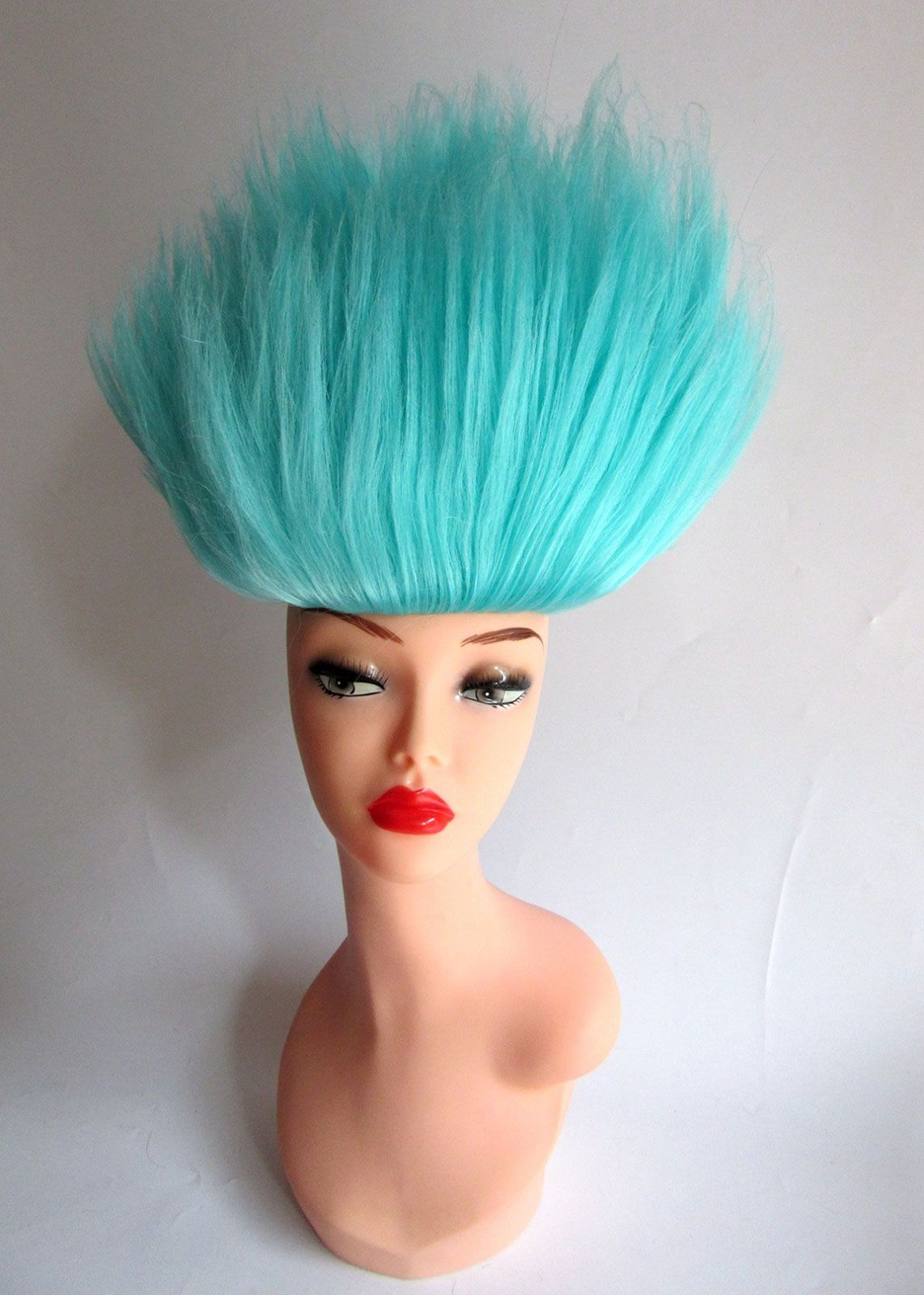 Light Blue Troll Doll Costume Wig Spiky Halloween Hair Hairpiece Dressup Fun Film Movie Danish