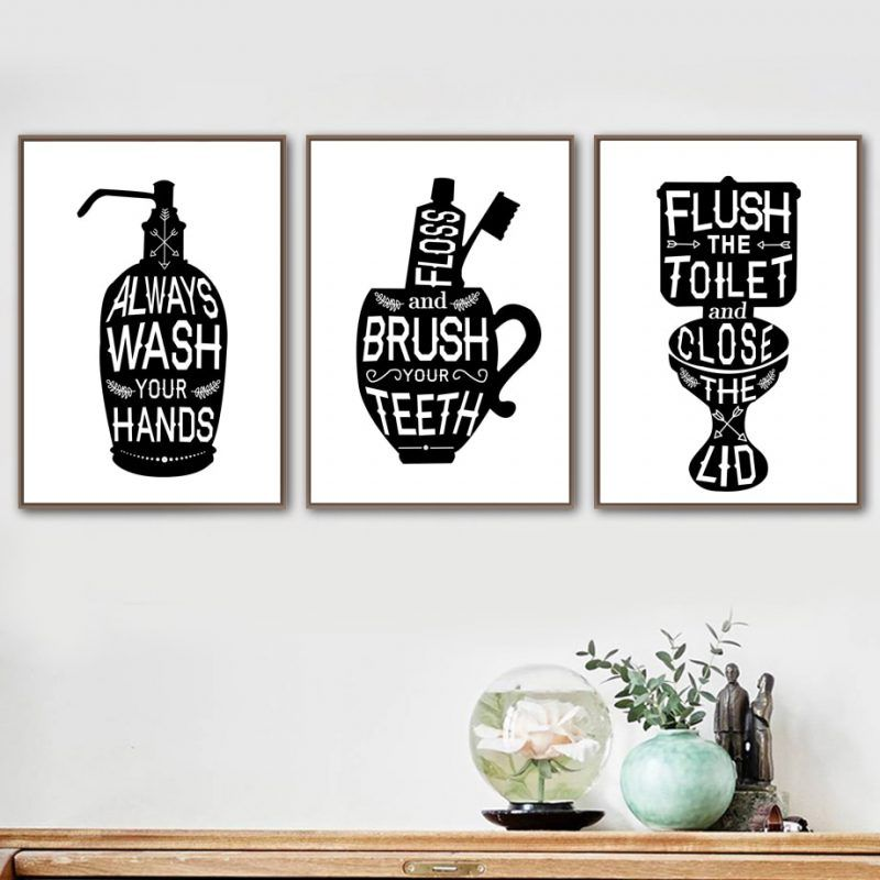 Toothbrush Toilet Quotes Funny Bathroom Wall Art Canvas Painting Nordic Posters And Prints Wall Pictures For Living Room Decor