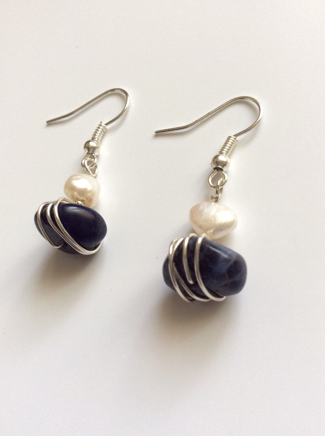 Handmade wire wrapped fresh water pearl and sodalite earrings ...