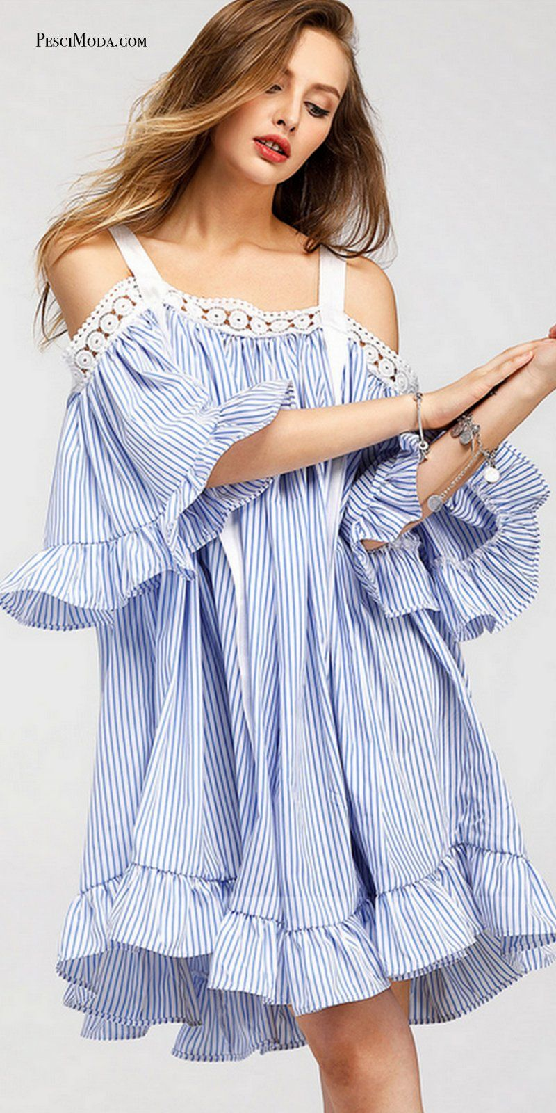 1bc0b59d697b WHITE BLUE STRIPED Short Dress  FreeShipping Get Your Summer Style Casual  Dresses at 50%Off at PesciModa.com  stripeddress  MiniDress  2017Fashion   Dresses ...