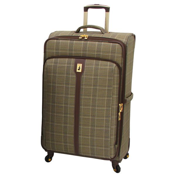 london fog westminster camel plaid 29inch expandable spinner upright suitcase by london fog - London Fog Luggage
