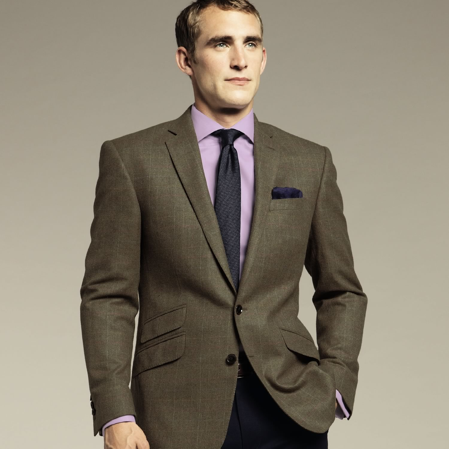 Olive summer tweed tailored fit jacket | Men's blazers ...