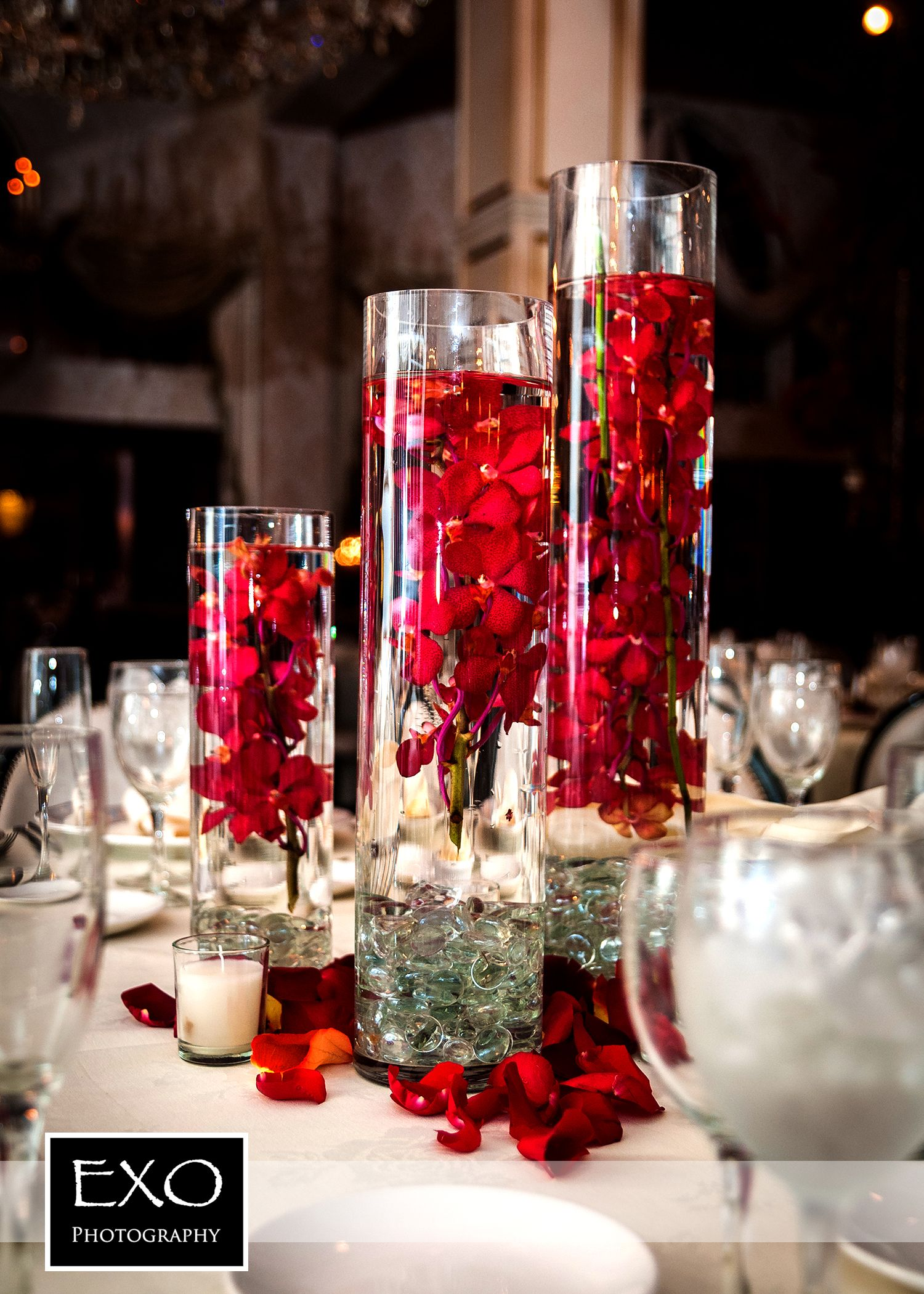 Red flower centerpiece and they lived happily ever for Red decoration for wedding