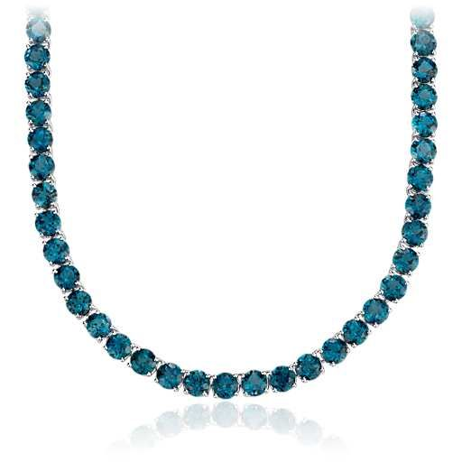 Round London Blue Topaz Necklace in Sterling Silver | Blue Nile ---> Never gonna happen, but it's pretty!!!