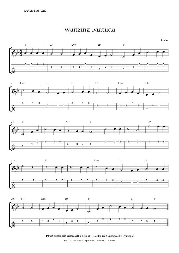 Waltzing Matilda | Ukulele Songs | Pinterest | Matilda, Ukulele tabs ...
