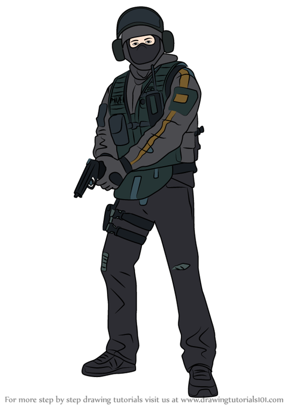 How To Draw Bandit From Rainbow Six Siege Drawings Bandit Step
