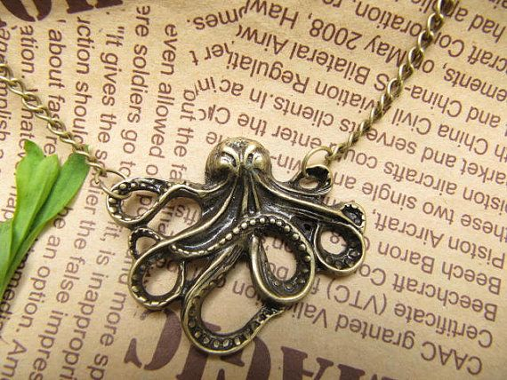SALE -octopus necklace antique jewelry steampunk giftwith charm chain jewelry