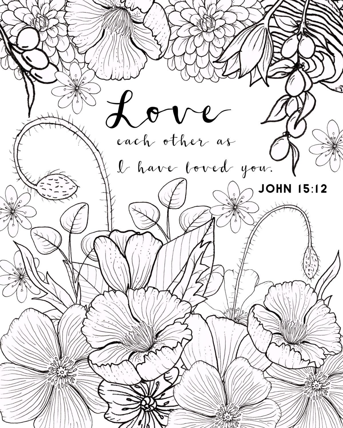 John 1512 Coloring Page Love By FourthAvePenandInk