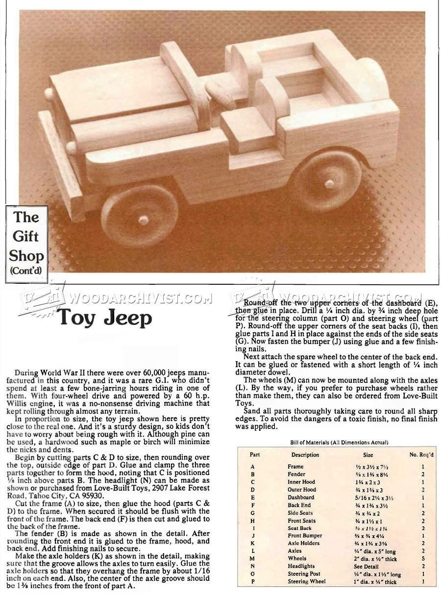 wooden toy jeep plans - wooden toy plans | crafts | wooden